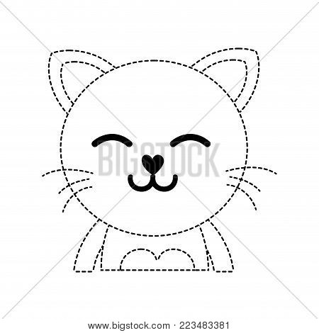 dotted shape sleeping cat adorable feline animal vector illustration poster