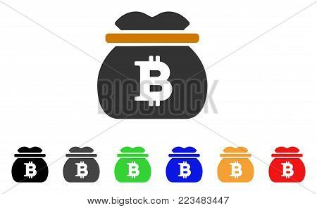 Bitcoin Money Bag icon. Vector illustration style is a flat iconic bitcoin money bag symbol with grey, yellow, green, blue, red, black color variants. Designed for web and software interfaces.