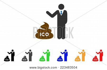 Businessman Show Ico Shit icon. Vector illustration style is a flat iconic businessman show ICO shit symbol with grey, yellow, green, blue, red, black color variants.