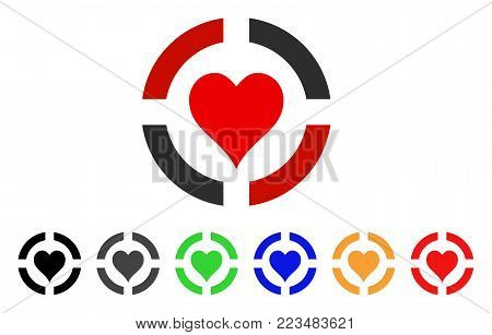 Casino Hearts Suit icon. Vector illustration style is a flat iconic casino hearts suit symbol with grey, yellow, green, blue, red, black color variants. Designed for web and software interfaces.