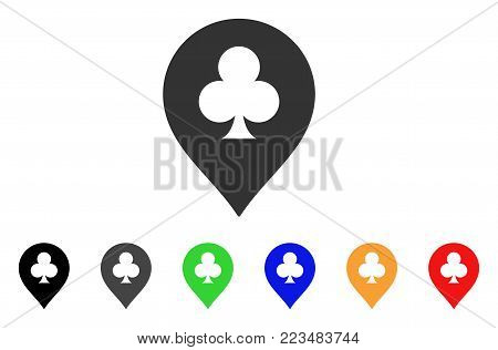 Clubs Casino Pointer icon. Vector illustration style is a flat iconic clubs casino pointer symbol with grey, yellow, green, blue, red, black color variants. Designed for web and software interfaces.