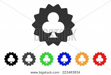 Clubs Token icon. Vector illustration style is a flat iconic clubs token symbol with grey, yellow, green, blue, red, black color versions. Designed for web and software interfaces.