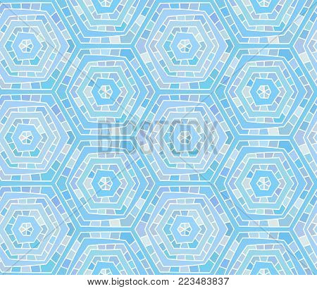 Abstract blue shades seamless hand drawn spiderweb pattern. Colorful design element for background, textile, paper packaging, wrapping paper, fabric and other. Vector illustration.