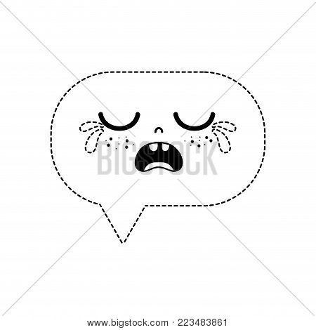 dotted shape gaudy chat bubble kawaii cartoon vector illustration