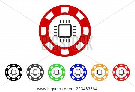 Cpu Casino Chip icon. Vector illustration style is a flat iconic cpu casino chip symbol with gray, yellow, green, blue, red, black color variants. Designed for web and software interfaces.