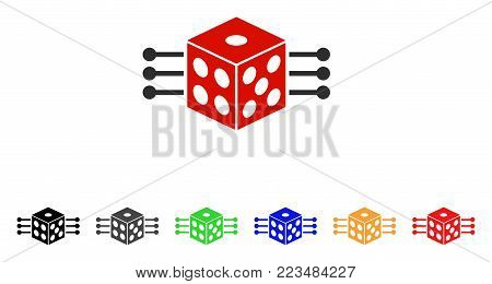 Dice Links icon. Vector illustration style is a flat iconic dice links symbol with grey, yellow, green, blue, red, black color versions. Designed for web and software interfaces.