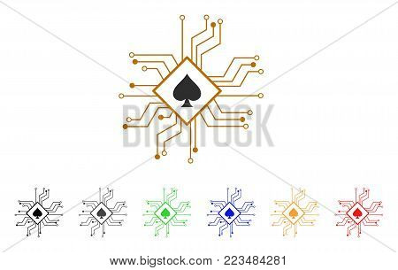 Digital Casino Circuit icon. Vector illustration style is a flat iconic digital casino circuit symbol with grey, yellow, green, blue, red, black color versions.