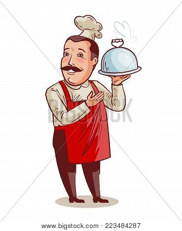 Happy chef with tray, cloche in hand. Cooking, restaurant concept. Cartoon vector illustration isolated on white background