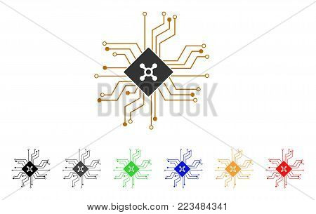 Digital Roulette Circuit icon. Vector illustration style is a flat iconic digital roulette circuit symbol with gray, yellow, green, blue, red, black color versions.