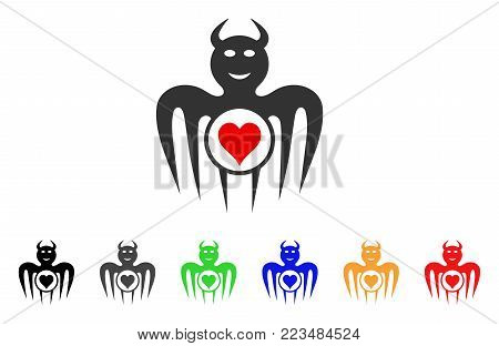 Gambling Happy Devil icon. Vector illustration style is a flat iconic gambling happy devil symbol with grey, yellow, green, blue, red, black color versions. Designed for web and software interfaces.