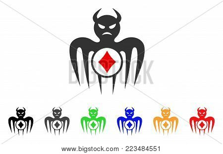 Gambling Spectre Devil icon. Vector illustration style is a flat iconic gambling spectre devil symbol with grey, yellow, green, blue, red, black color variants.
