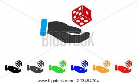 Hand Throw Dice icon. Vector illustration style is a flat iconic hand throw dice symbol with grey, yellow, green, blue, red, black color versions. Designed for web and software interfaces.