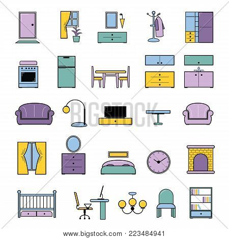 Furniture seamless pattern vector furnishings design in interior of bedroom or living room with sofa bed armchair and chair in furnished apartment of house illustration background.