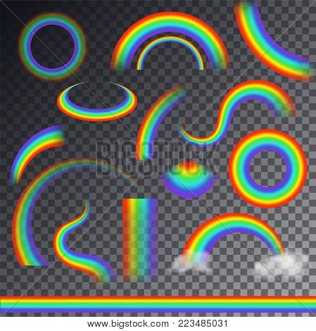 Rainbow vector colorful bowed arc in raining sky multicolored cartoon arch or bow spectrum of colors with rainy clouds illustration isolated on transparent background.