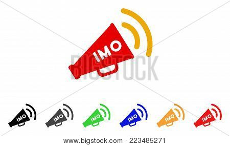 Imo Megaphone Alert icon. Vector illustration style is a flat iconic imo megaphone alert symbol with gray, yellow, green, blue, red, black color variants. Designed for web and software interfaces.