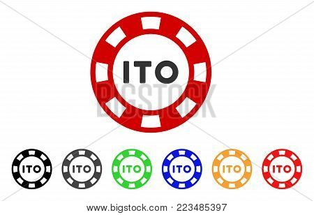 Ito Token icon. Vector illustration style is a flat iconic ito token symbol with grey, yellow, green, blue, red, black color versions. Designed for web and software interfaces.