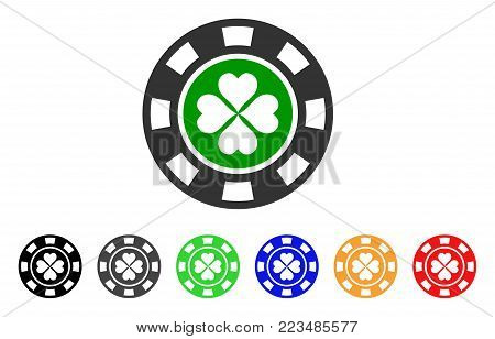 Luck Casino Chip icon. Vector illustration style is a flat iconic luck casino chip symbol with grey, yellow, green, blue, red, black color variants. Designed for web and software interfaces.
