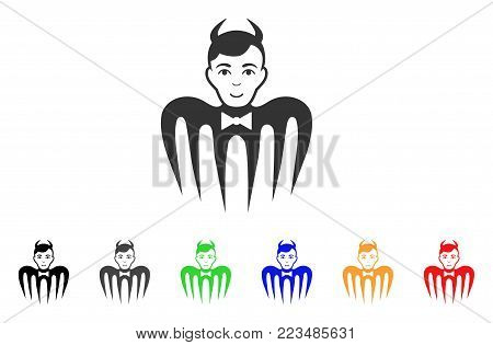 Manager Spectre Devil icon. Vector illustration style is a flat iconic manager spectre devil symbol with grey, yellow, green, blue, red, black color variants. Designed for web and software interfaces.