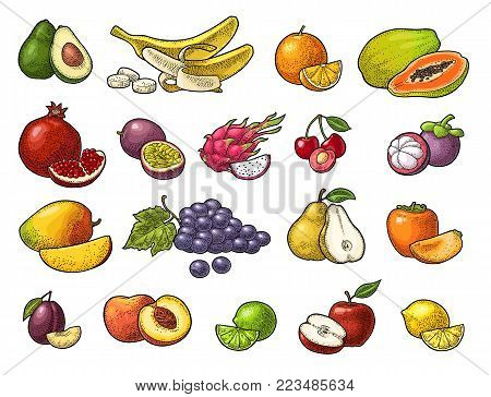 Set fruits. Mango, lime, banana, maracuya, avocado, dragon, lemon, orange, garnet, peach, apple, pear, grape, plum, passion, mangosteen, papay, persimmon, cherry. Vector black vintage engraving