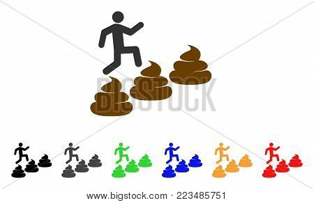 Person Climbing Shit Levels icon. Vector illustration style is a flat iconic person climbing shit levels symbol with gray, yellow, green, blue, red, black color variants.