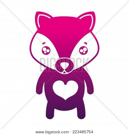 silhouette tender fox cute wild animal vector illustration