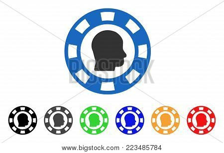 Personal Casino Chip icon. Vector illustration style is a flat iconic personal casino chip symbol with grey, yellow, green, blue, red, black color variants. Designed for web and software interfaces.
