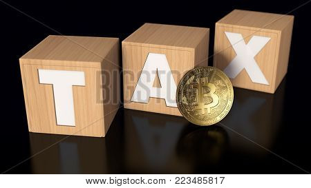 Three wooden blocks with TAX letters and a Bitcoin in the middle. Taxes on bitcoin investments concept. 3D rendering