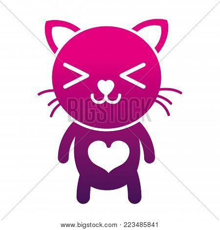 silhouette happy cat cute feline animal vector illustration poster