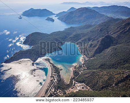 Idyllic seascape. Oludeniz. Turkey Bird's eye view