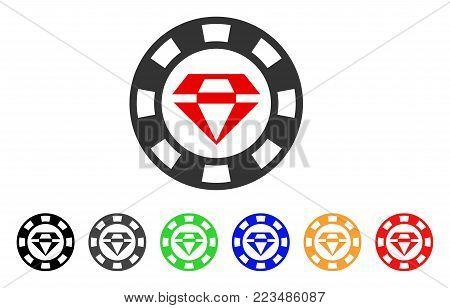 Ruby Casino Chip icon. Vector illustration style is a flat iconic ruby casino chip symbol with grey, yellow, green, blue, red, black color versions. Designed for web and software interfaces.