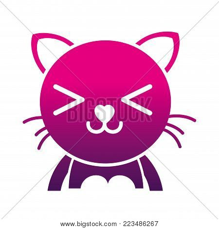 silhouette happy cat adorable feline animal vector illustration poster