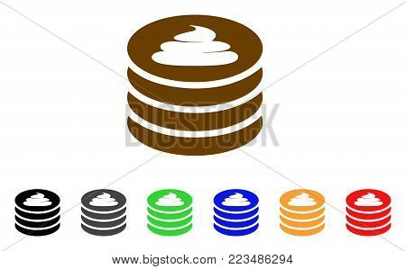 Shit Coin Stack icon. Vector illustration style is a flat iconic shit coin stack symbol with grey, yellow, green, blue, red, black color versions. Designed for web and software interfaces.