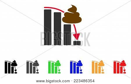 Shit Fall Down Chart icon. Vector illustration style is a flat iconic shit fall down chart symbol with grey, yellow, green, blue, red, black color versions. Designed for web and software interfaces.