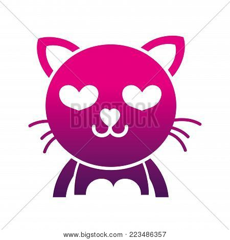 silhouette enamored cat adorable feline animal vector illustration poster
