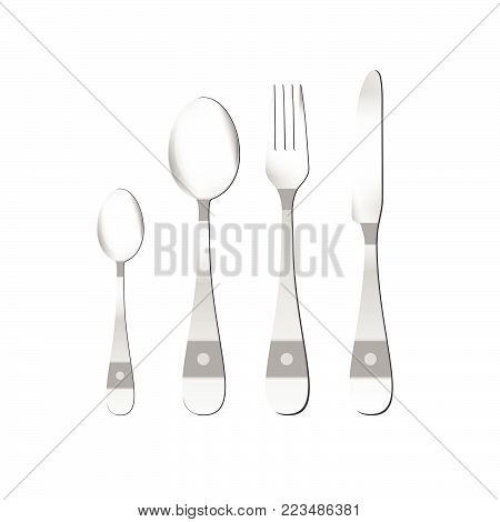 cutlery vector illustration in silver with detail