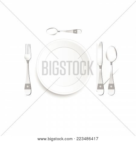 plate and cutlery setting in silver with detail illustration