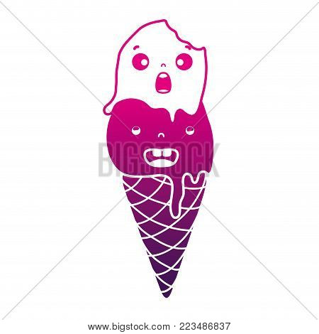 silhouette smile circle ice lolly kawaii vector illustration