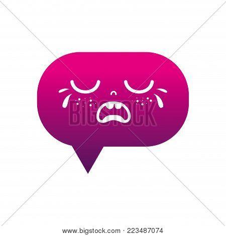 silhouette gaudy chat bubble kawaii cartoon vector illustration