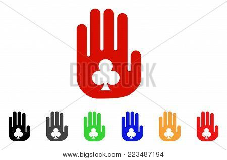 Stop Gambling Hand icon. Vector illustration style is a flat iconic stop gambling hand symbol with gray, yellow, green, blue, red, black color variants. Designed for web and software interfaces.