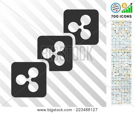 Ripple Block Chain icon with 7 hundred bonus bitcoin mining and blockchain design elements. Vector illustration style is flat iconic symbols designed for crypto-currency apps.