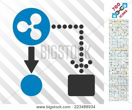 Ripple Cashflow pictograph with 700 bonus bitcoin mining and blockchain pictograms. Vector illustration style is flat iconic symbols designed for crypto-currency software.