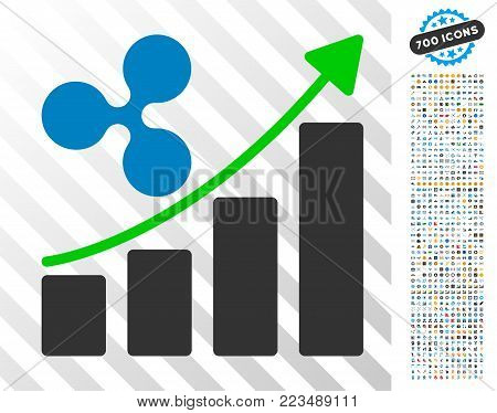 Ripple Growth Trend pictograph with 7 hundred bonus bitcoin mining and blockchain graphic icons. Vector illustration style is flat iconic symbols designed for crypto-currency websites.