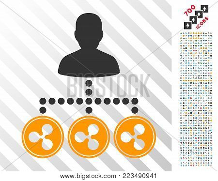 Ripple Coins Collector icon with 700 bonus bitcoin mining and blockchain clip art. Vector illustration style is flat iconic symbols designed for crypto currency apps.