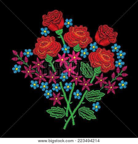 Embroidery style red rose and other flowers stitches imitation. Vector embroidery rose and little flower on black background. Embroidery flower.
