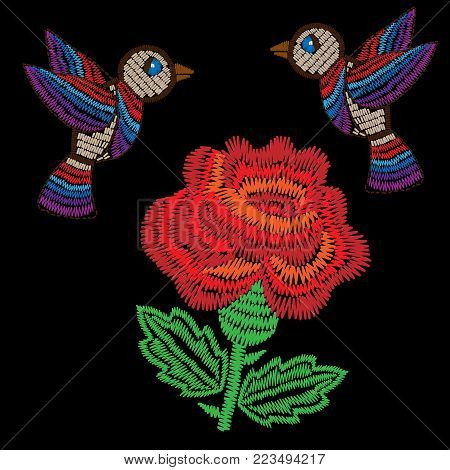 Embroidery style red rose with bird stitches imitation. Vector embroidery fashion flower and bird on black background. Embroidery flower.