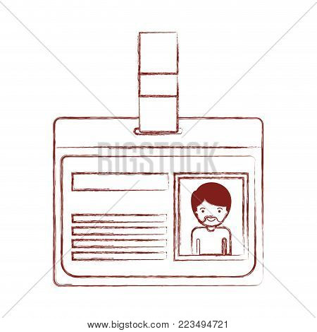 identification card with half body man picture with short hair and van dyke beard in dark red blurred silhouette vector illustration