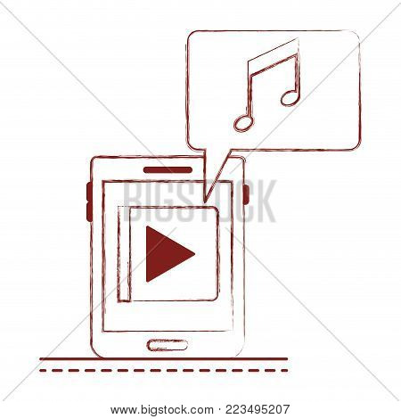 tablet device music app and dialogue box in dark red blurred silhouette vector illustration
