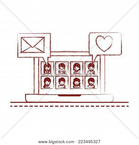 people picture profiles social network in laptop screen with dialogues mail and heart in dark red blurred silhouette vector illustration