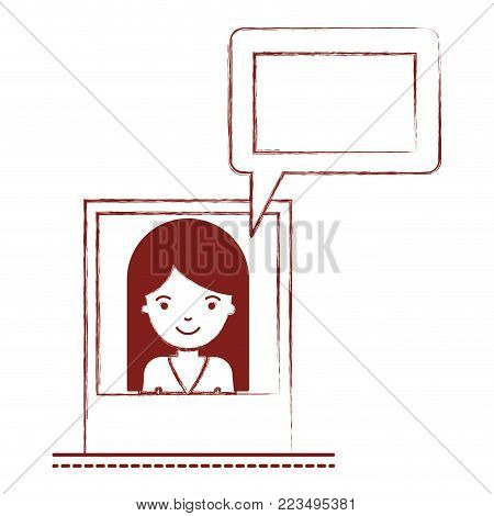 woman social network picture profile dialogue comments in dark red blurred silhouette vector illustration