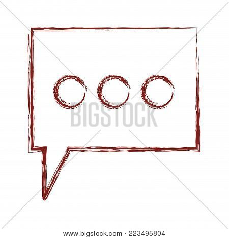 dialogue box with tail and three suspension points in dark red blurred silhouette vector illustration